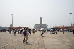 中国亚洲,北京,对人民的英雄的纪念碑 免版税库存图片