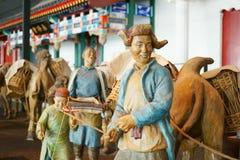 中国亚洲,北京,首都博物馆,雕塑,老北京,民间商人 免版税图库摄影