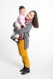 中国交互式母亲和儿子 免版税库存照片