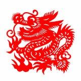 中国人剪切loong纸张 库存照片