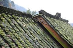 中国人四川瓦片顶房顶了房子 免版税库存图片