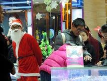 中国人圣诞老人服装 免版税库存照片
