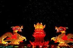 2013中国人在西安中国龙的灯会 免版税库存照片