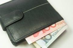 中国人在钱包里面的元人民币钞票 免版税图库摄影