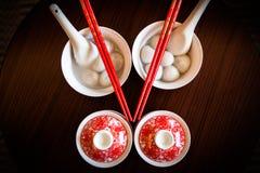 中国人民吃饺子和茶婚礼 免版税图库摄影