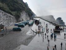 中国人湖南张家界天门山山停车场山坡 免版税图库摄影