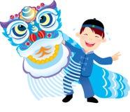 中国人舞蹈孩子狮子使用 皇族释放例证
