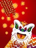中国人舞蹈爆竹顶头例证狮子 皇族释放例证