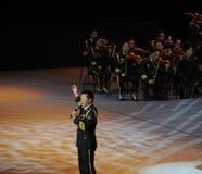 中国人著名民歌手Wang红卫theFamous和classicconcert 库存照片