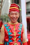 中国人戴国籍老人人 免版税库存图片