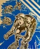 中国人Fixie自行车比赛海报-北京2014年 库存照片