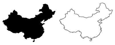 中国传染媒介图画仅简单的锋利的角落地图  装载 皇族释放例证