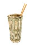 中国传统手工制造柳条筐容器筷子 库存图片