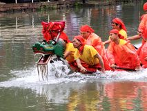 中国传统节日,端午节龙小船将赢取强调 免版税图库摄影
