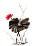 中国传统卓越的华美的装饰手画墨水水百合 免版税库存图片
