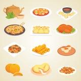 中国传统食物盘可口烹调亚洲晚餐膳食瓷午餐烹调了传染媒介例证 免版税库存照片