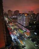 中国住宅区夜视图  免版税库存照片