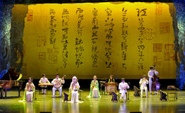 中国使艺术马戏团民间音乐失去能力 库存照片