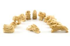 中国兔子符号木雕 免版税库存图片