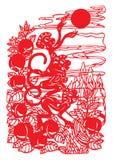中国剪切纸张 皇族释放例证