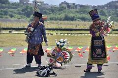中国北部四川羌族服装 免版税库存照片