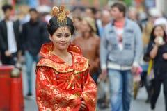 中国卖艺人在伦敦 免版税库存照片