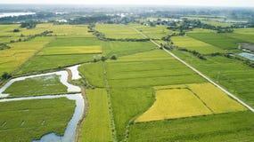 中国南方美丽的乡下的空中照片在秋天 库存照片
