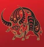 中国占星黄牛年 库存图片