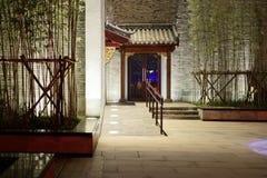 中国古典建筑学这第一个灯会在南昌 免版税库存照片