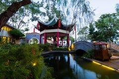 中国古老亭子在公园里 图库摄影