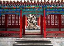 中国古老建筑学、紫禁城Gugong亭子、冬天和雪 库存图片