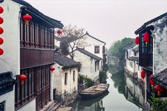 中国古老水村庄 库存照片