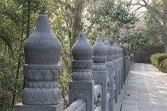 中国古老石栏杆的支 免版税图库摄影