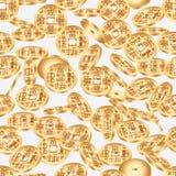 中国古老硬币维度无缝的样式 免版税库存图片
