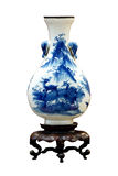 中国古色古香的蓝色和白色花瓶 免版税图库摄影
