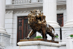 中国古铜色狮子 图库摄影