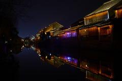 中国古镇夜视图  库存图片