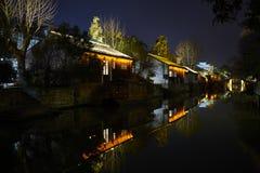 中国古镇夜视图  免版税图库摄影