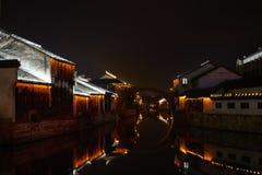 中国古镇夜视图  图库摄影