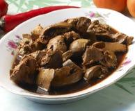 中国可口盘食物油煎了热肝脏猪肉 库存照片