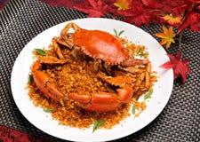 中国可口食物 中国烹调油煎了壳螃蟹用大蒜和胡椒 库存照片