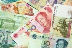 中国和俄国货币 免版税库存照片