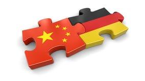中国和德国难题从旗子 免版税库存照片