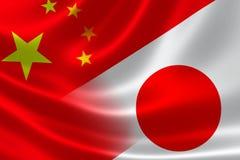 中国和日本的被合并的旗子 免版税库存照片