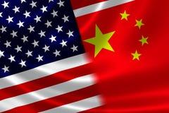中国和美国的被合并的旗子 库存图片