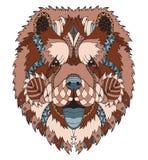 中国咸菜狗zentangle传统化了顶头,徒手画的铅笔 库存图片