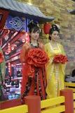 中国唐朝妇女的衣物 免版税库存图片