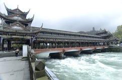 中国四川村庄Dujiangyan 库存照片