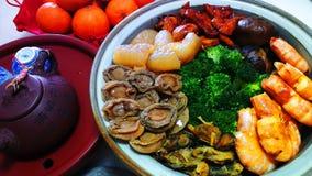 中国团聚晚餐Pencai纤巧,普遍的auspicioius po 图库摄影