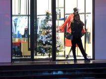 中国圣诞节商店装饰树 免版税库存图片